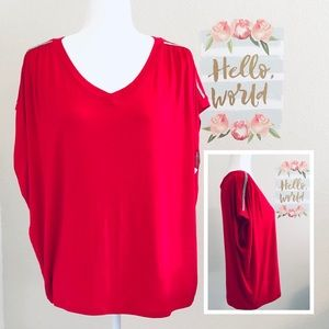 NWT JLo dressy red top